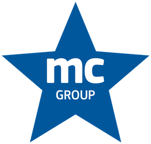 sternförmiges blaues MCGroup Logo